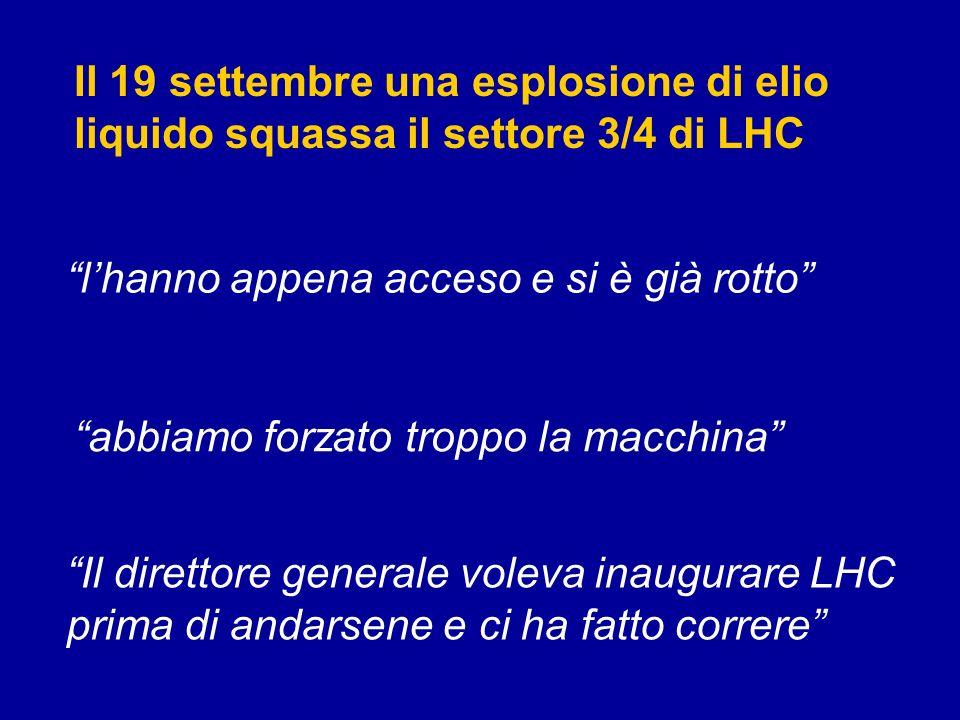 Il 19 settembre una esplosione di elio liquido squassa il settore 3/4 di LHC