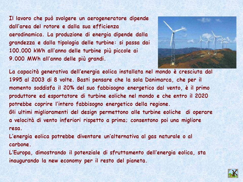 Il lavoro che può svolgere un aerogeneratore dipende dall'area del rotore e dalla sua efficienza aerodinamica. La produzione di energia dipende dalla grandezza e dalla tipologia delle turbine: si passa dai 100.000 kWh all'anno delle turbine più piccole ai 9.000 MWh all'anno delle più grandi.