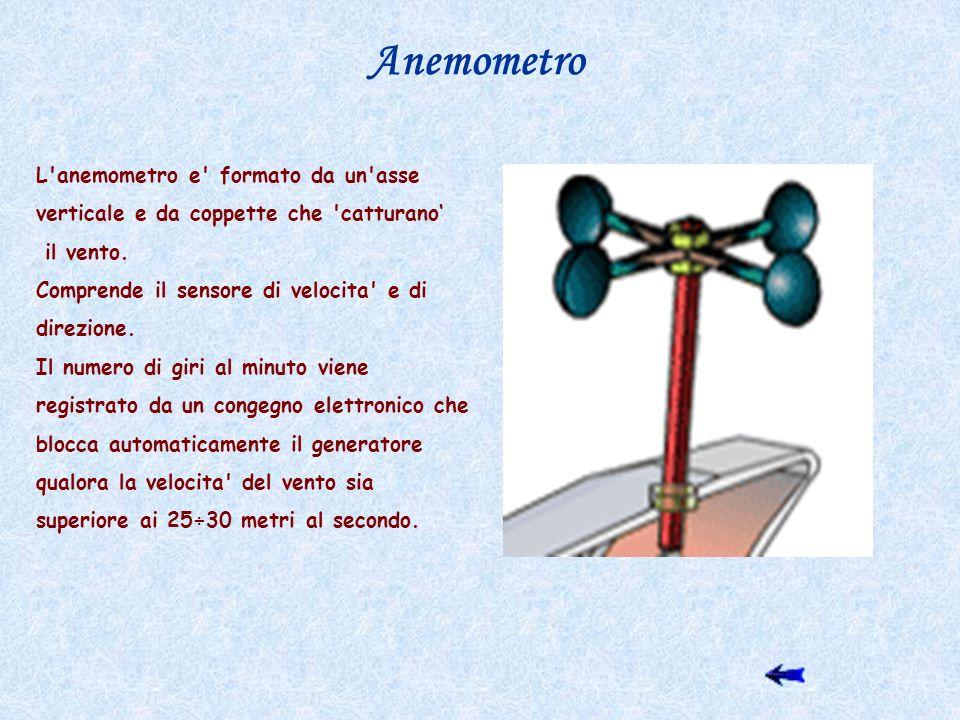 Anemometro L anemometro e formato da un asse verticale e da coppette che catturano' il vento. Comprende il sensore di velocita e di direzione.