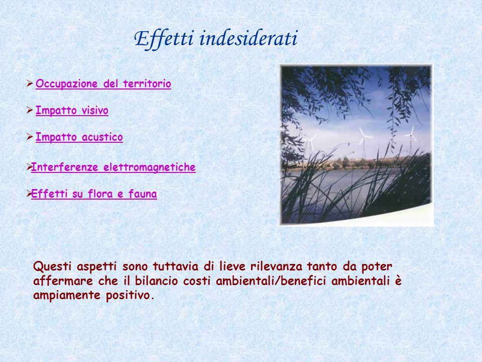 Effetti indesiderati Occupazione del territorio. Impatto visivo. Impatto acustico. Interferenze elettromagnetiche.