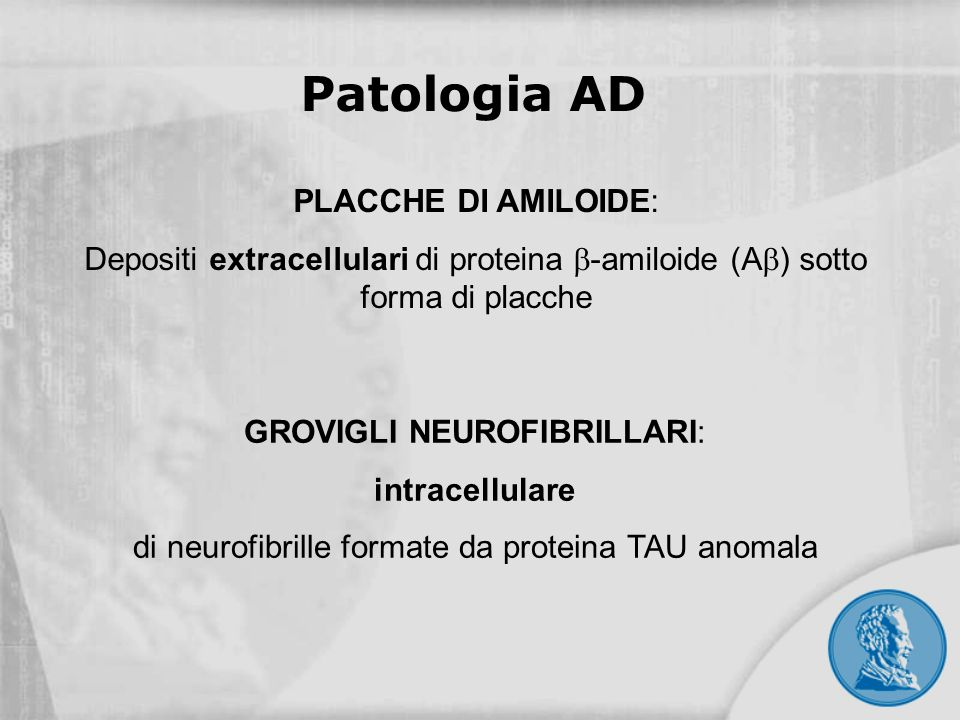 Patologia AD PLACCHE DI AMILOIDE: