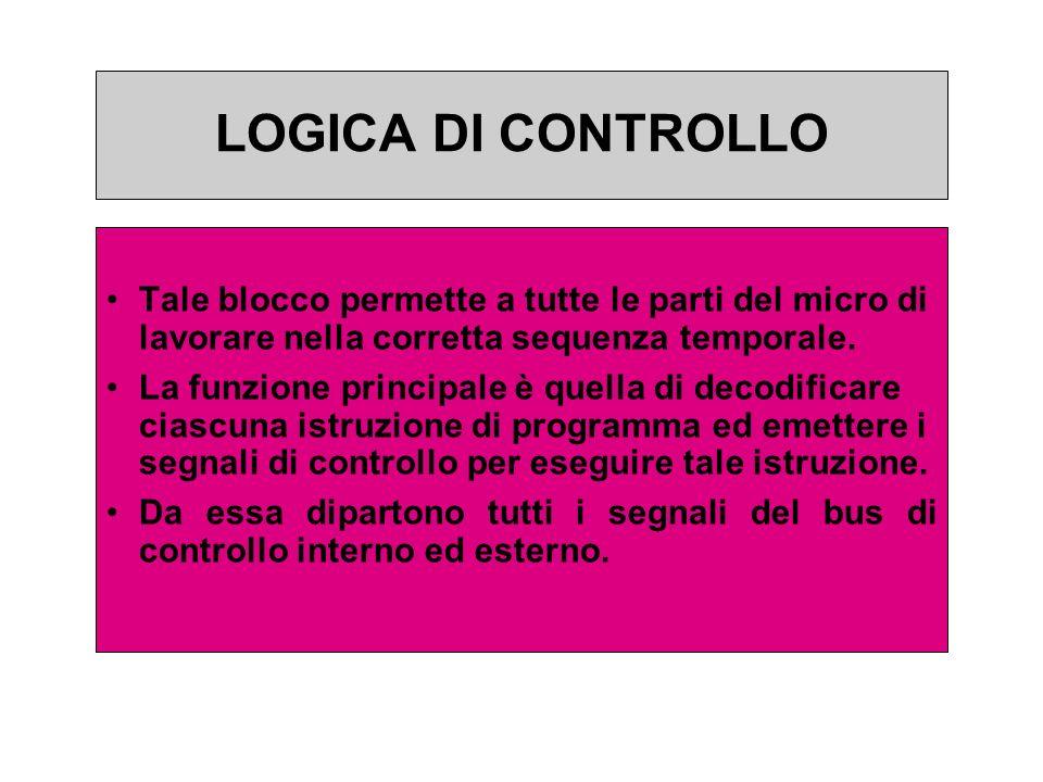 LOGICA DI CONTROLLO LOGICA DI CONTROLLO