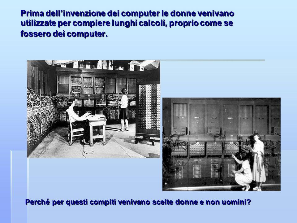 Prima dell'invenzione dei computer le donne venivano utilizzate per compiere lunghi calcoli, proprio come se fossero dei computer.