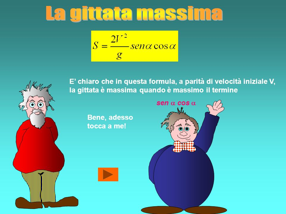 La gittata massima E' chiaro che in questa formula, a parità di velocità iniziale V, la gittata è massima quando è massimo il termine.