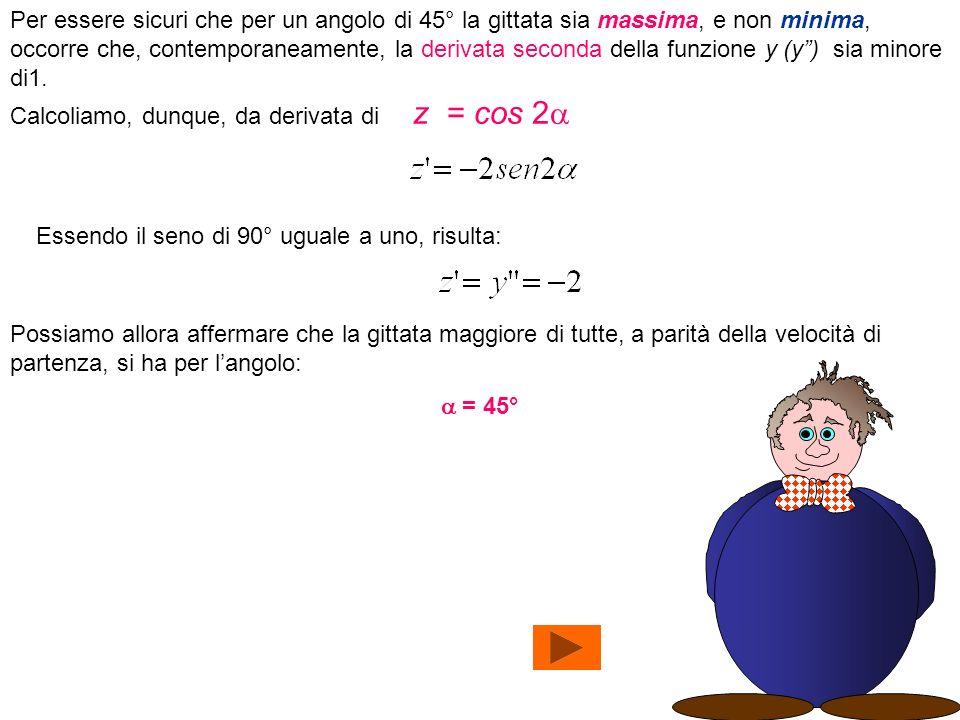 Per essere sicuri che per un angolo di 45° la gittata sia massima, e non minima, occorre che, contemporaneamente, la derivata seconda della funzione y (y ) sia minore di1.