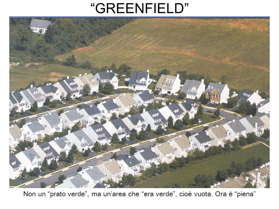 GREENFIELD Non un prato verde , ma un'area che era verde , cioè vuota. Ora è piena