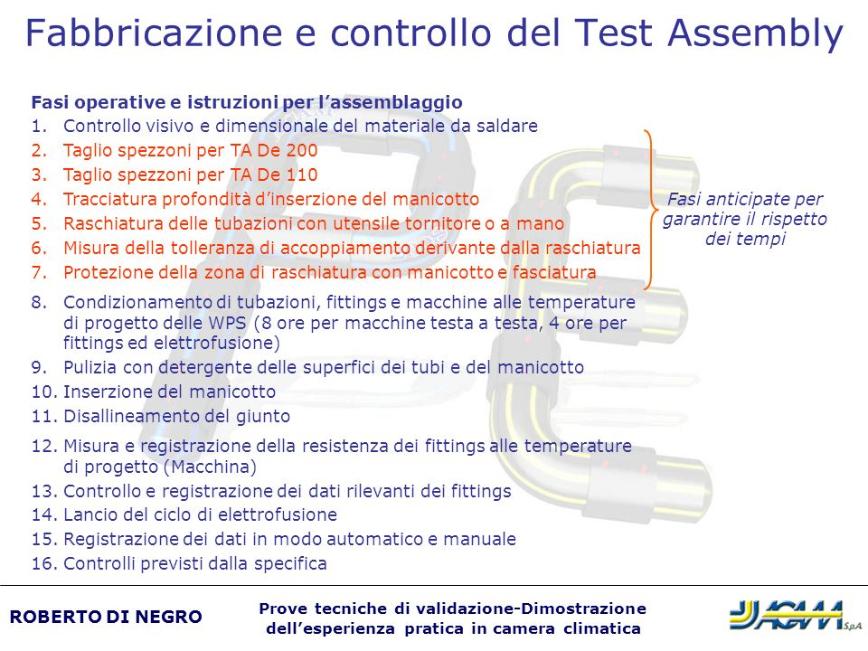 Fabbricazione e controllo del Test Assembly