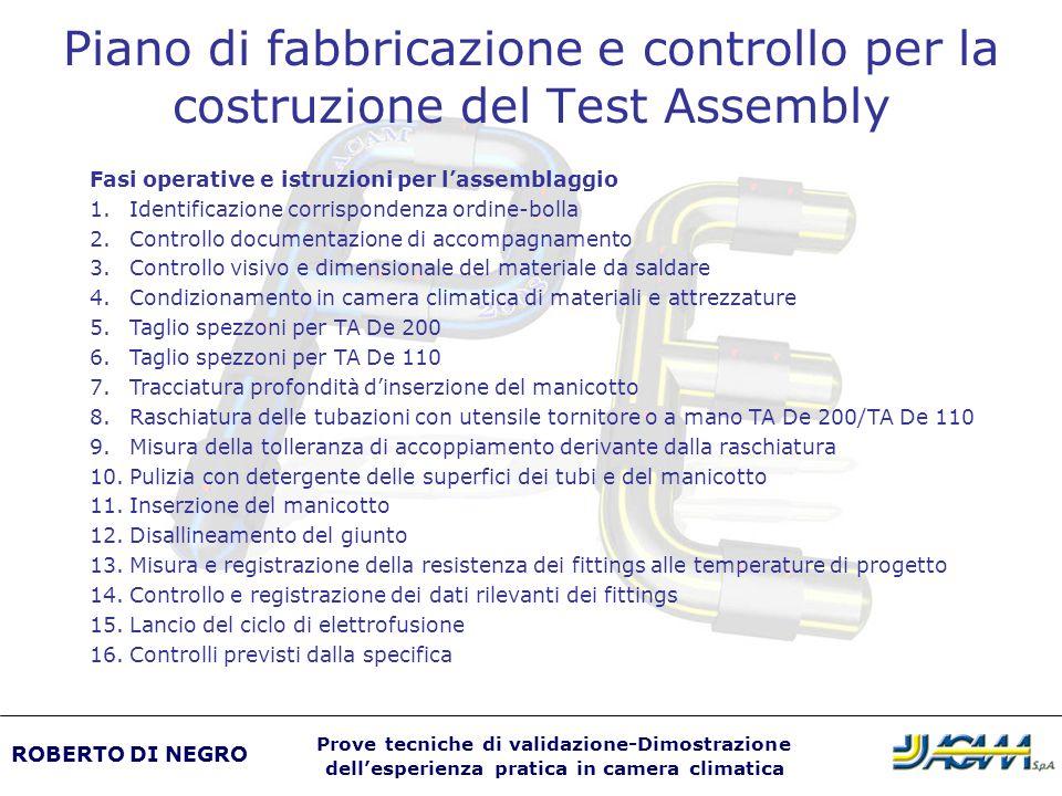 Piano di fabbricazione e controllo per la costruzione del Test Assembly