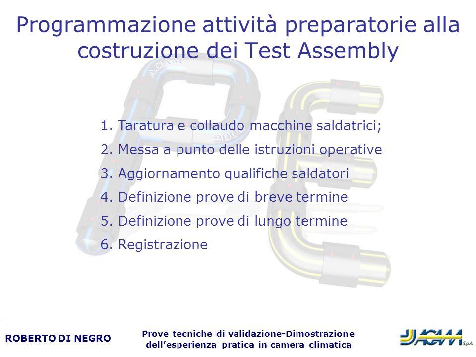 Programmazione attività preparatorie alla costruzione dei Test Assembly