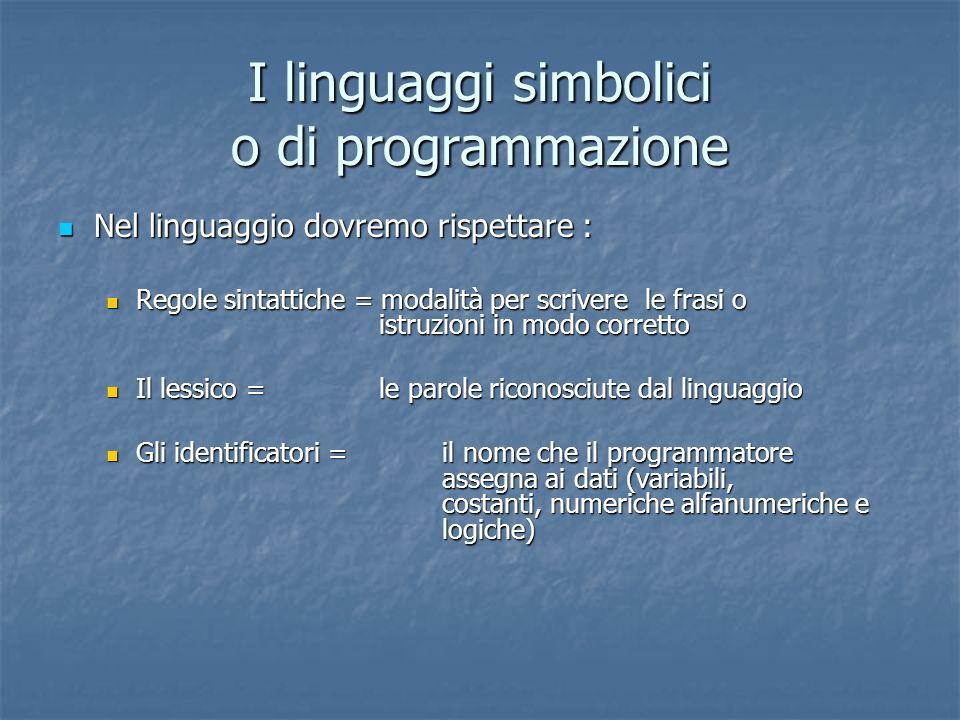 I linguaggi simbolici o di programmazione