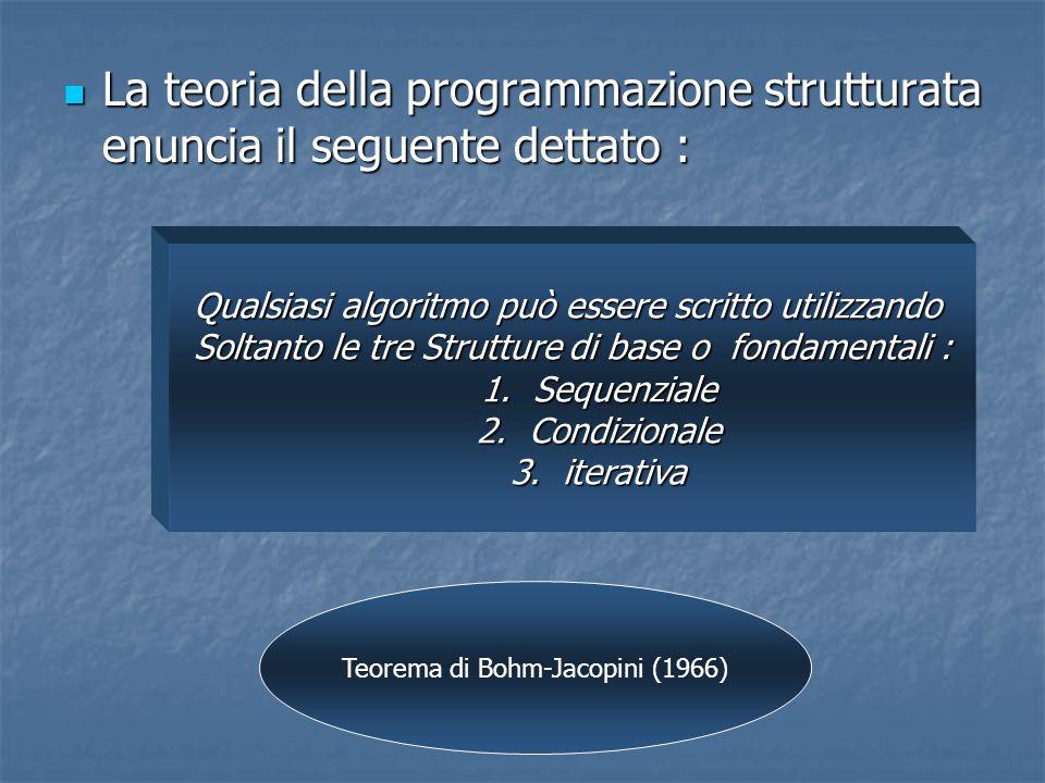 La teoria della programmazione strutturata enuncia il seguente dettato :
