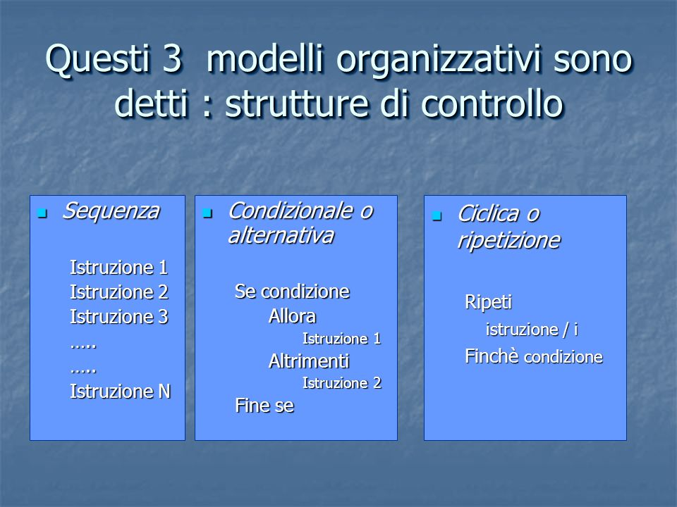 Questi 3 modelli organizzativi sono detti : strutture di controllo
