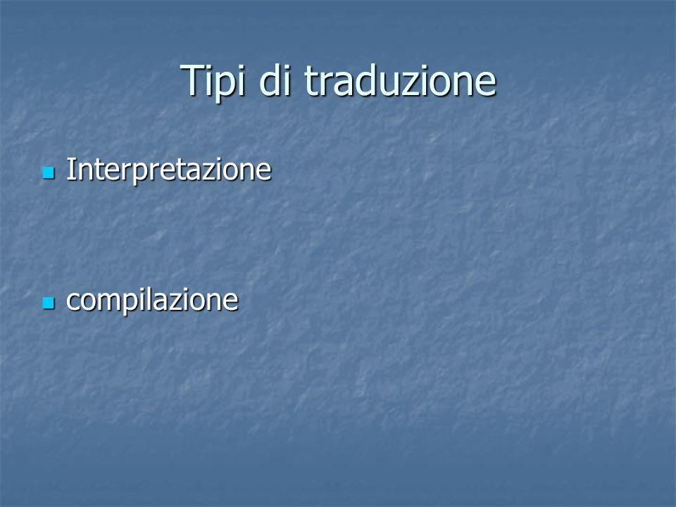 Tipi di traduzione Interpretazione compilazione