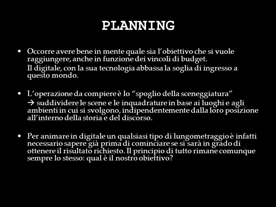 PLANNING Occorre avere bene in mente quale sia l'obiettivo che si vuole raggiungere, anche in funzione dei vincoli di budget.