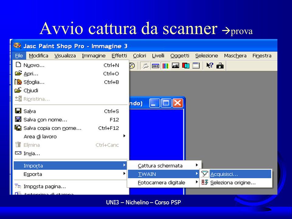 Avvio cattura da scanner prova