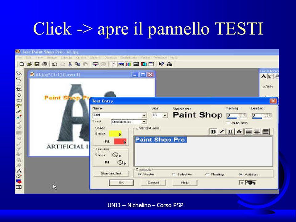 Click -> apre il pannello TESTI