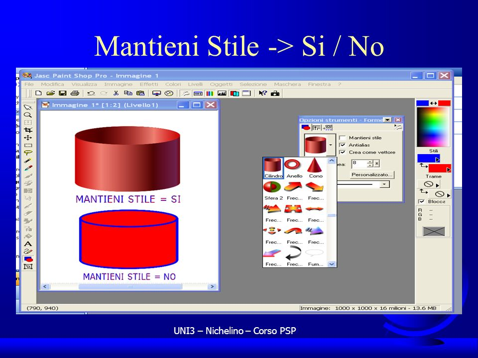 Mantieni Stile -> Si / No