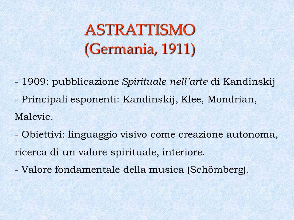 ASTRATTISMO (Germania, 1911)