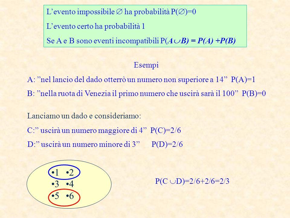 D: uscirà un numero minore di 3 P(D)=2/6
