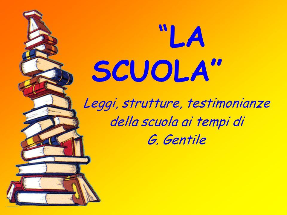 Leggi, strutture, testimonianze della scuola ai tempi di G. Gentile