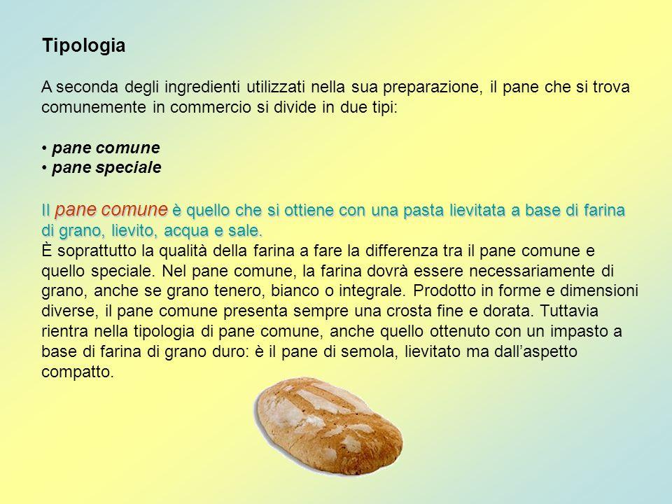 Tipologia A seconda degli ingredienti utilizzati nella sua preparazione, il pane che si trova comunemente in commercio si divide in due tipi: