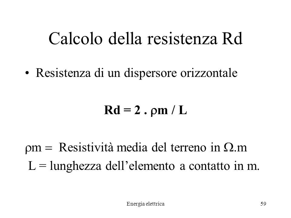Calcolo della resistenza Rd