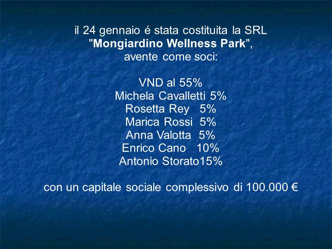 il 24 gennaio é stata costituita la SRL Mongiardino Wellness Park ,