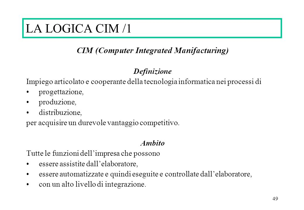 CIM (Computer Integrated Manifacturing)