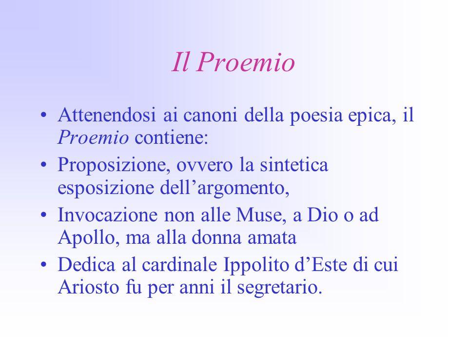 Il Proemio Attenendosi ai canoni della poesia epica, il Proemio contiene: Proposizione, ovvero la sintetica esposizione dell'argomento,