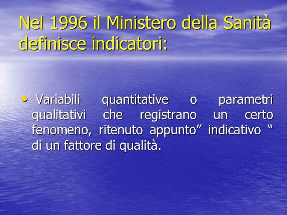 Nel 1996 il Ministero della Sanità definisce indicatori: