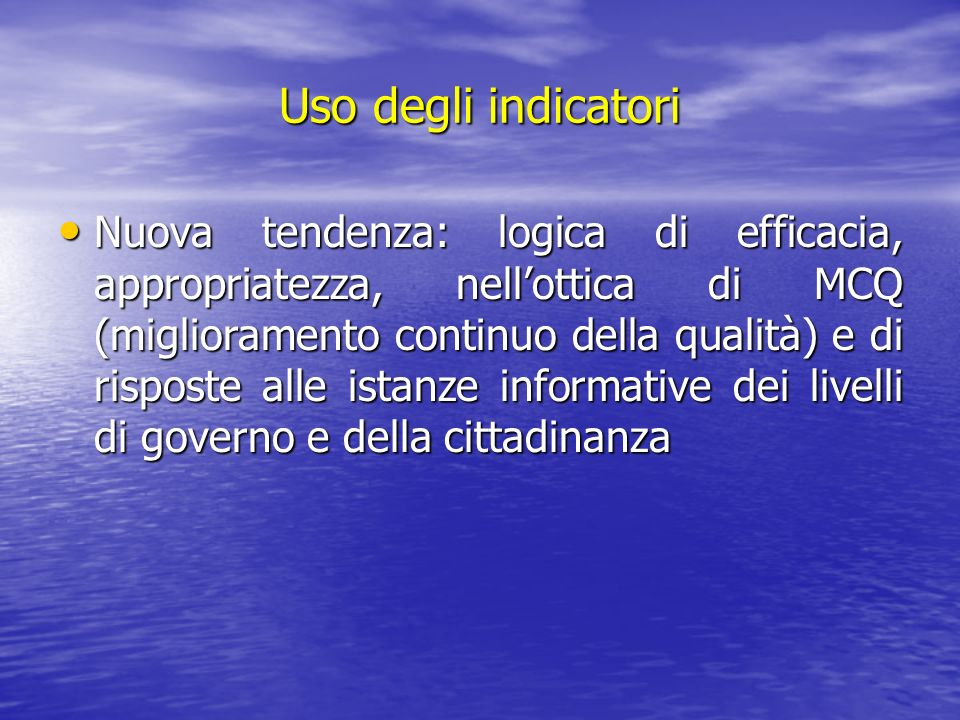 Uso degli indicatori