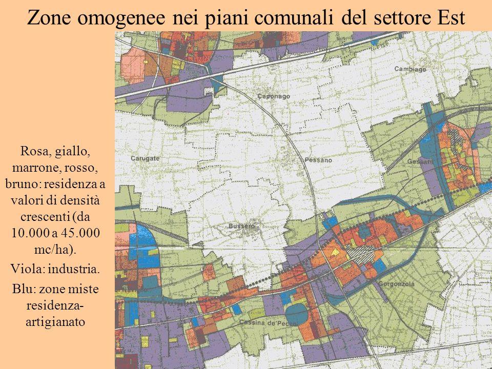 Zone omogenee nei piani comunali del settore Est