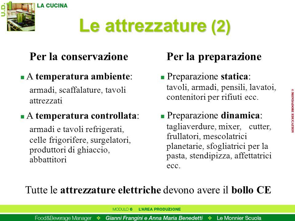 Le attrezzature (2) Per la conservazione Per la preparazione