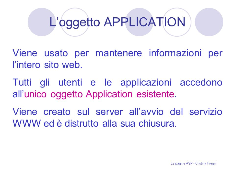 L'oggetto APPLICATION