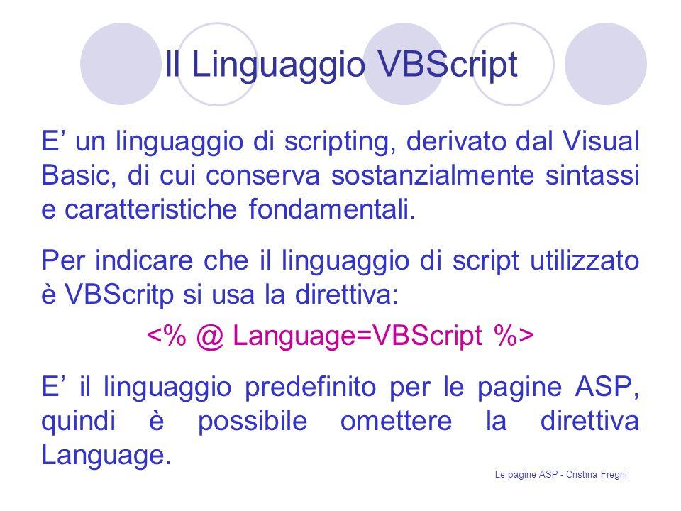 Il Linguaggio VBScript