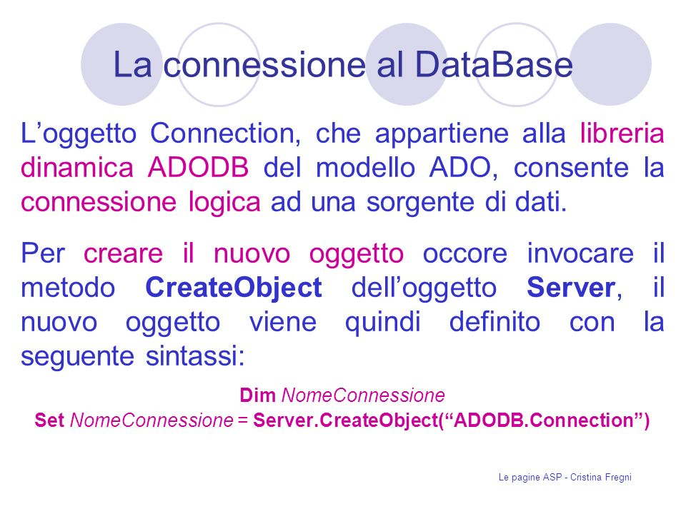 La connessione al DataBase