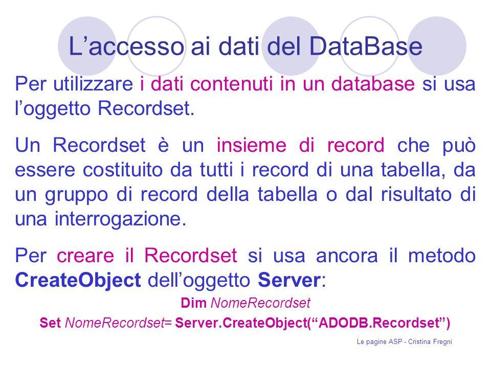 L'accesso ai dati del DataBase