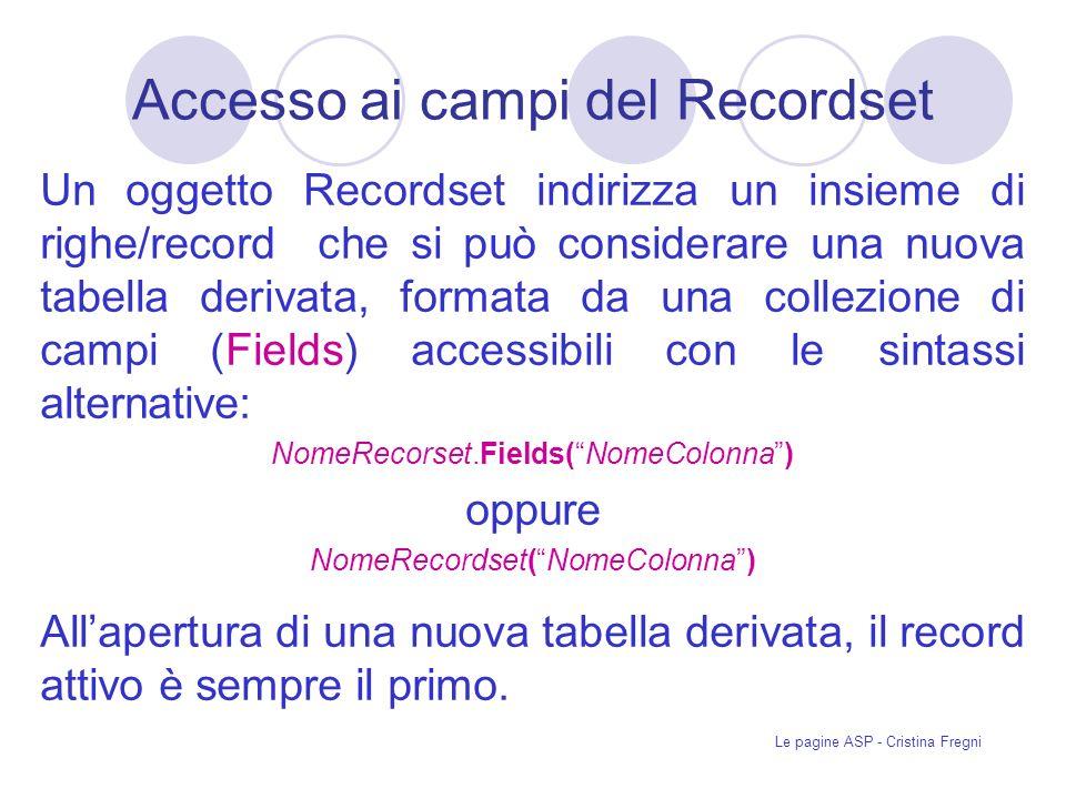 Accesso ai campi del Recordset