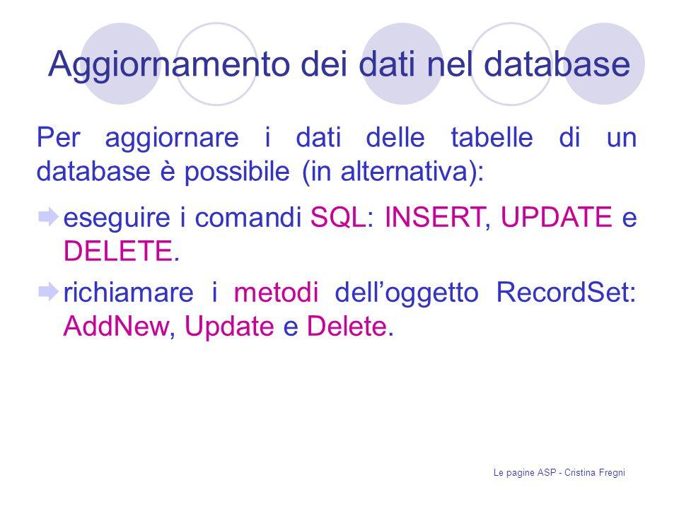 Aggiornamento dei dati nel database