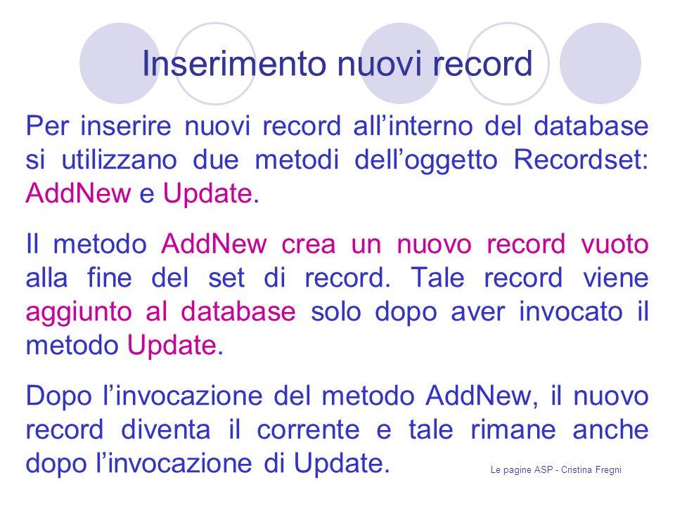 Inserimento nuovi record