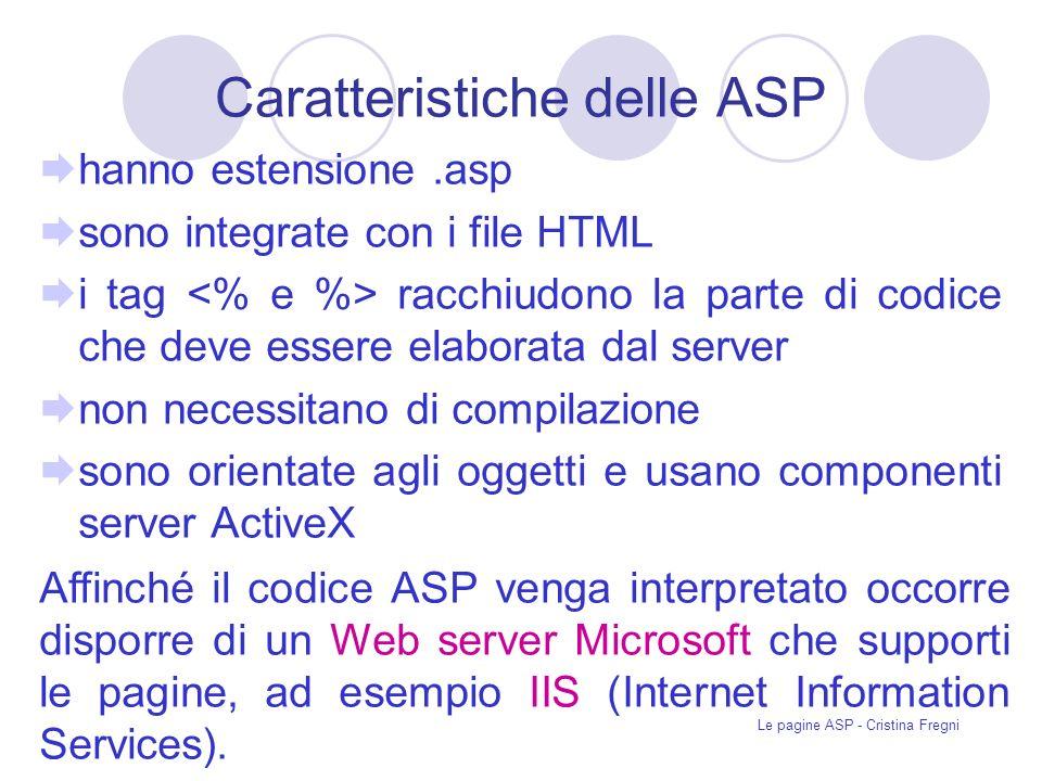 Caratteristiche delle ASP