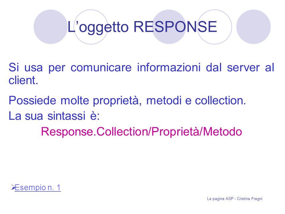 L'oggetto RESPONSE Si usa per comunicare informazioni dal server al client. Possiede molte proprietà, metodi e collection.