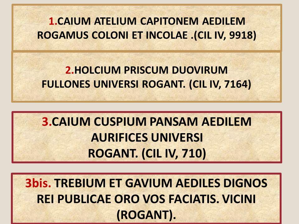 3.CAIUM CUSPIUM PANSAM AEDILEM AURIFICES UNIVERSI