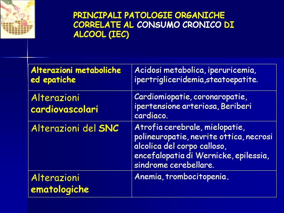 Alterazioni ematologiche Alterazioni del SNC