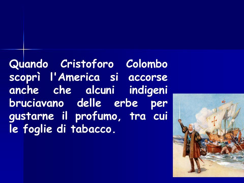 Quando Cristoforo Colombo scoprì l America si accorse anche che alcuni indigeni bruciavano delle erbe per gustarne il profumo, tra cui le foglie di tabacco.