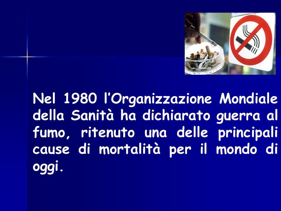 Nel 1980 l'Organizzazione Mondiale della Sanità ha dichiarato guerra al fumo, ritenuto una delle principali cause di mortalità per il mondo di oggi.