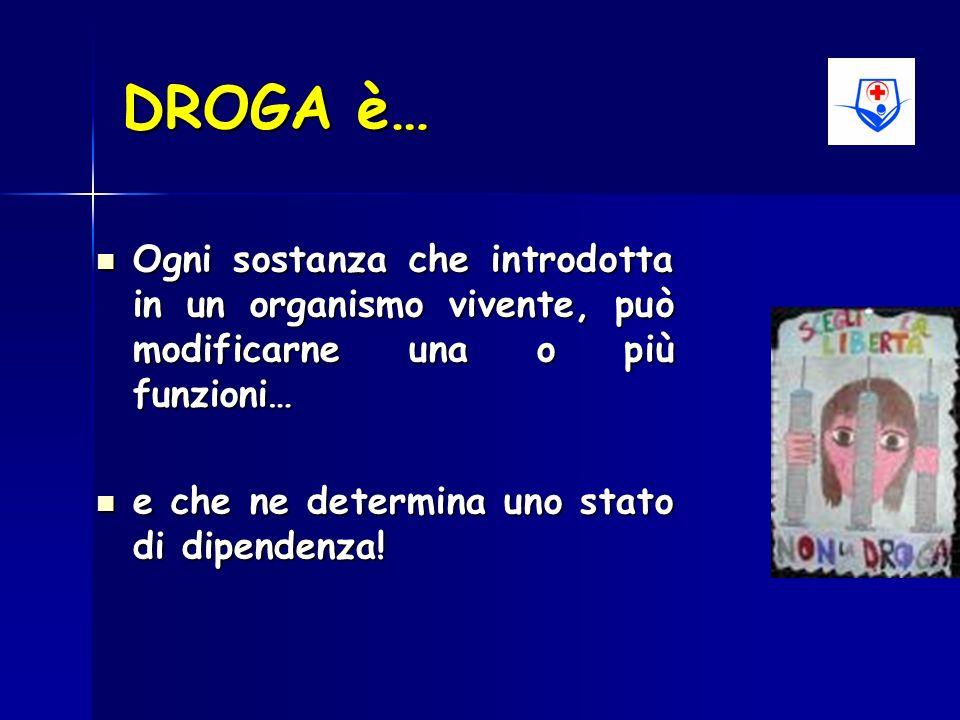 DROGA è… Ogni sostanza che introdotta in un organismo vivente, può modificarne una o più funzioni… e che ne determina uno stato di dipendenza!