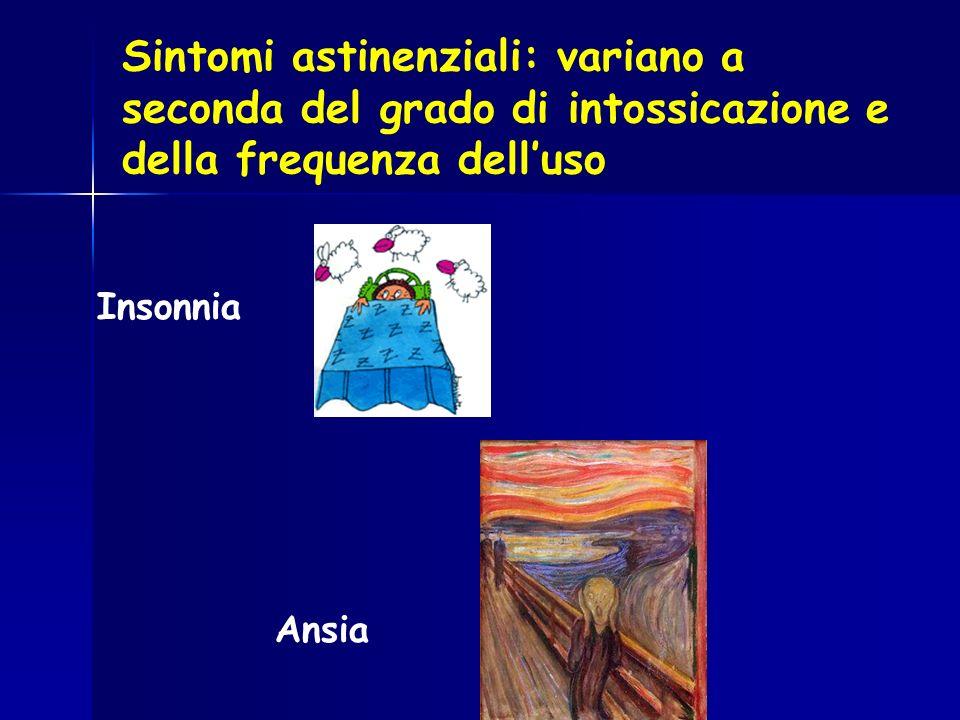 Sintomi astinenziali: variano a seconda del grado di intossicazione e della frequenza dell'uso