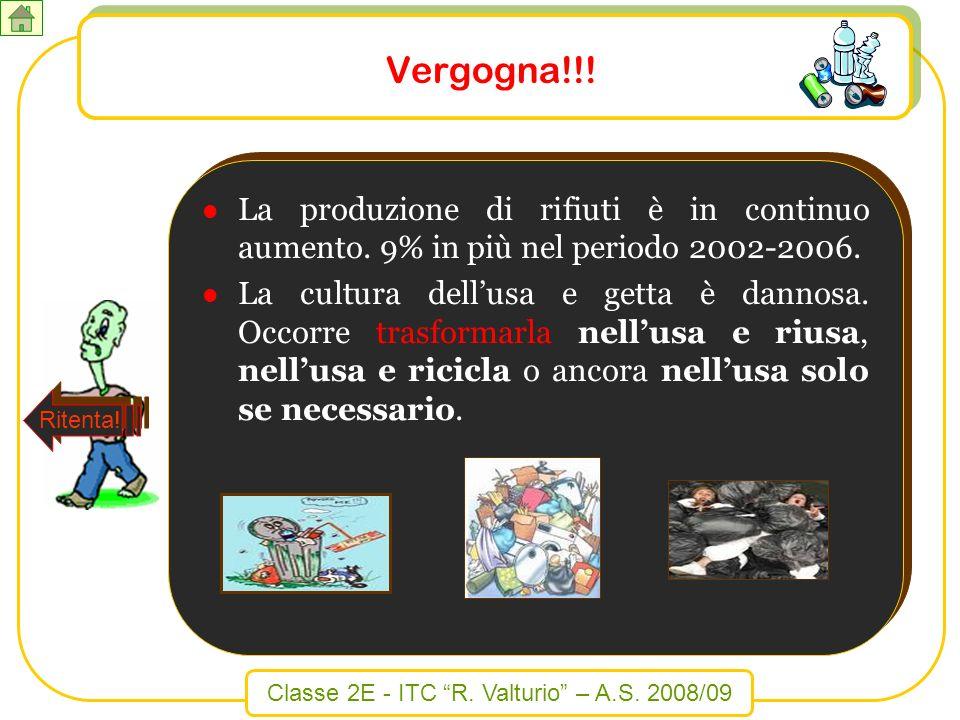 Vergogna!!! La produzione di rifiuti è in continuo aumento. 9% in più nel periodo 2002-2006.