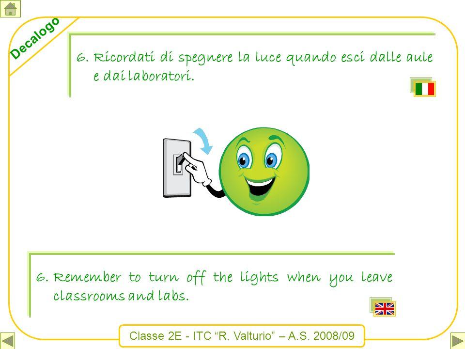 Ricordati di spegnere la luce quando esci dalle aule e dai laboratori.